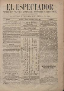 Primera edición del diario El Espectador, 22 de marzo de 1887